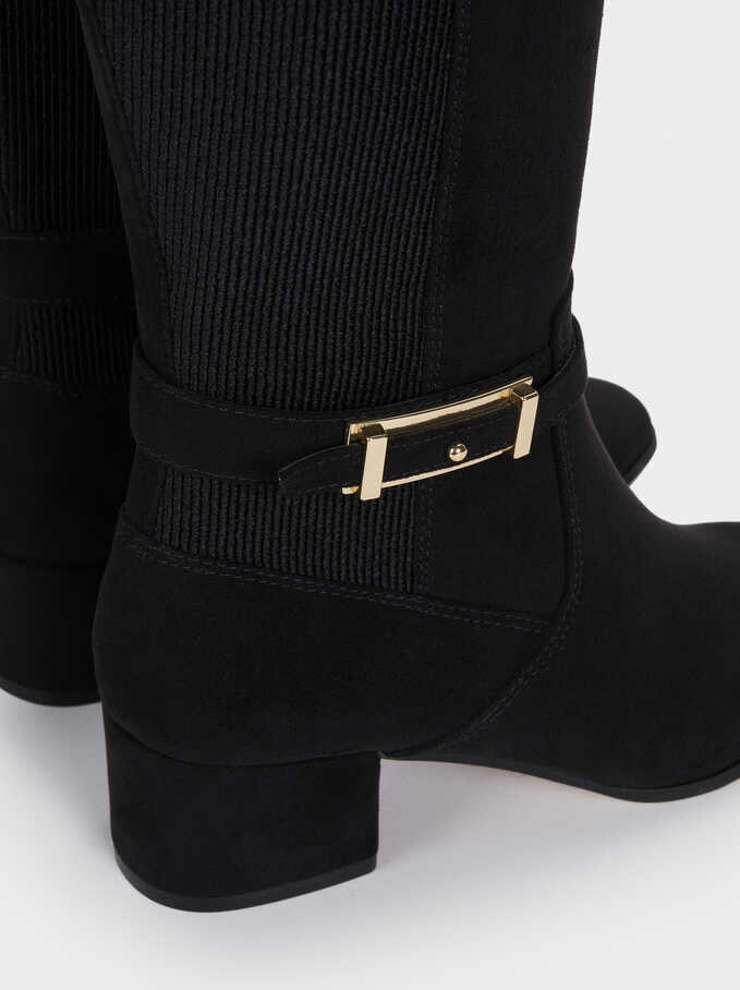 High-Heel Boots With Buckle Detail, Black, hi-res