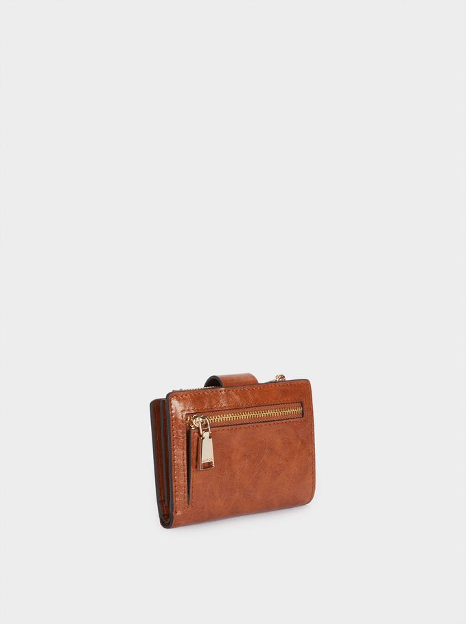 Faux Leather Plain Wallet, Camel, hi-res