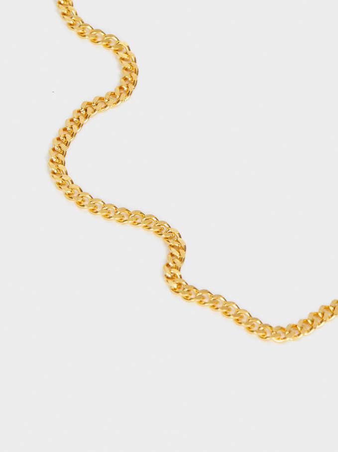 Collar Cadena Corto De Acero Dorado, Dorado, hi-res