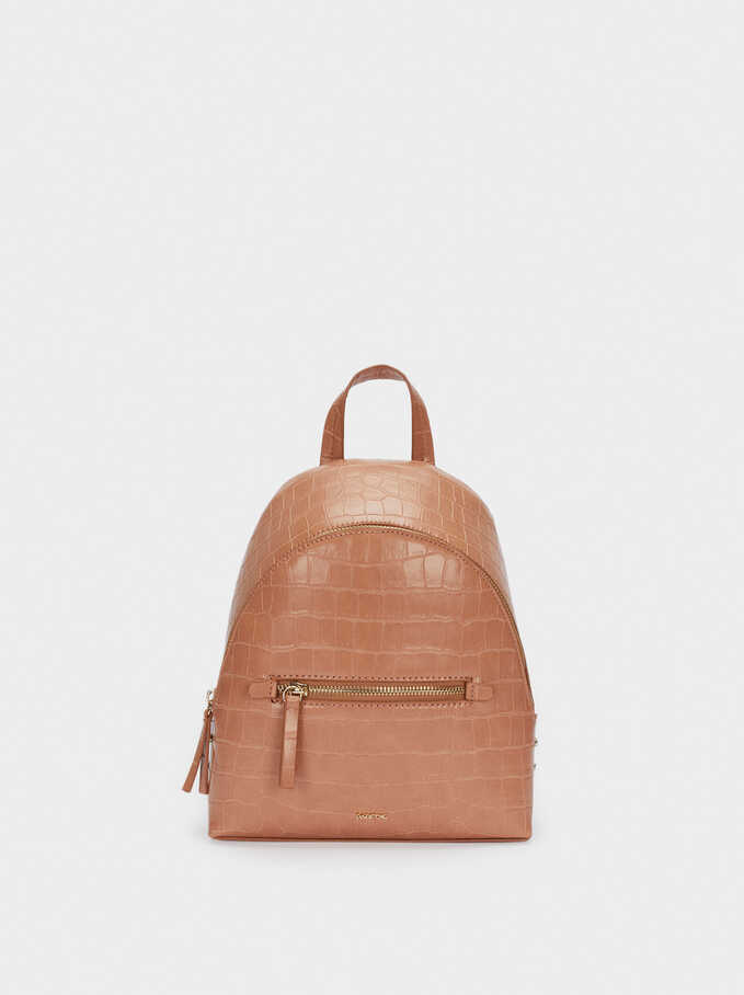 Backpack With Embossed Animal Print And Exterior Pocket, Beige, hi-res