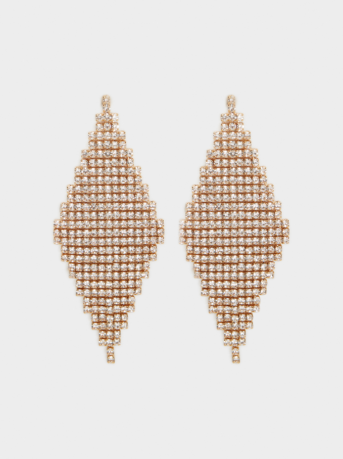 Long Rhinestone Earrings, , hi-res
