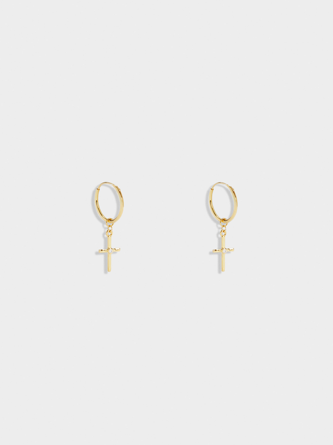 925 Sterling Silver Short Hoops With Cross, Golden, hi-res