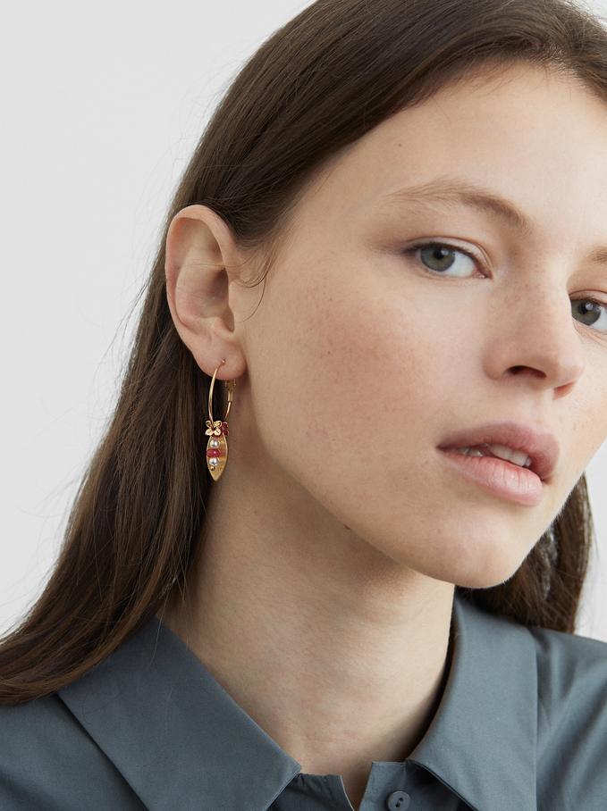 Petrified Small Hoop Earrings, Pink, hi-res