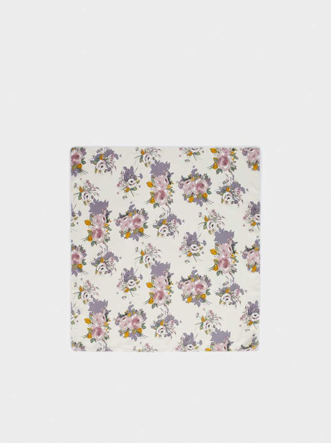 Floral Printed Knot Headband, Multicolor, hi-res