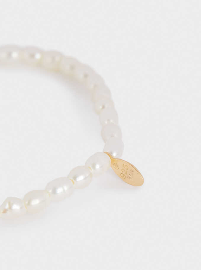 Elastic 925 Sterling Silver Bracelet With Faux Pearl, Beige, hi-res