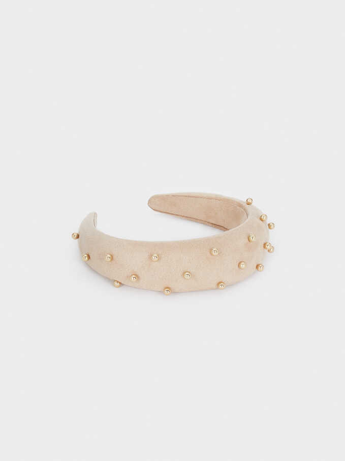 Wide Faux Pearl Headband, Beige, hi-res