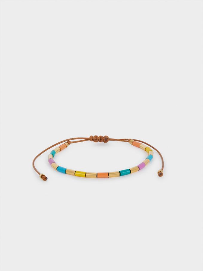 Braccialetto Regolabile In Acciaio Con Perline, Multicolore, hi-res