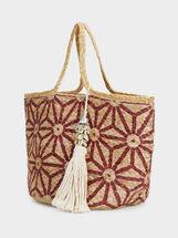 Raffia Effect Tote Bag, Red, hi-res