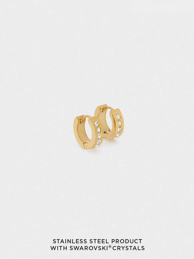 Short Stainless Steel Swarovski Crystals Hoop Earrings, Golden, hi-res