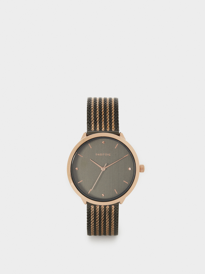 Watch With Two-Tone Metallic Mesh Strap, Black, hi-res