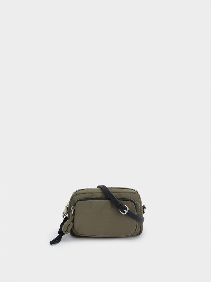 Nylon Crossbody Bag With Outer Pocket, Khaki, hi-res