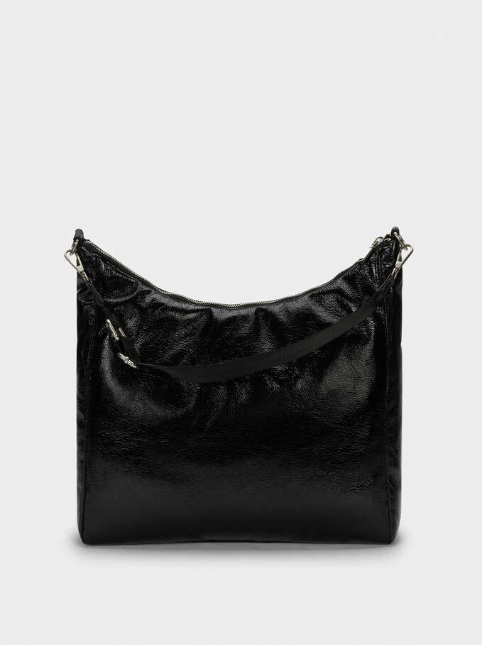 Patent Finish Shopper Bag With Shoulder Strap, Black, hi-res