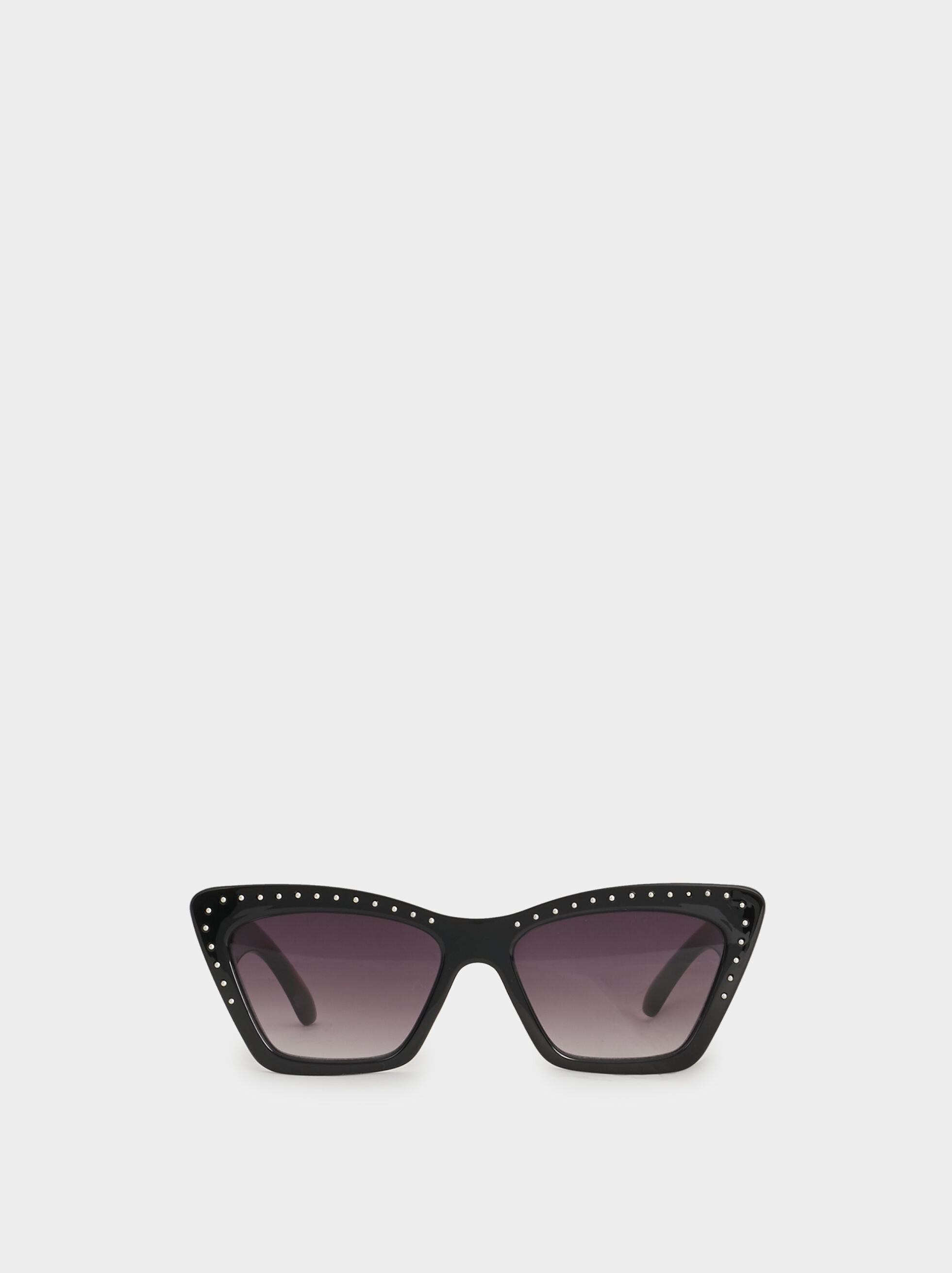 Studded Cat Eye Sunglasses, Black, hi-res