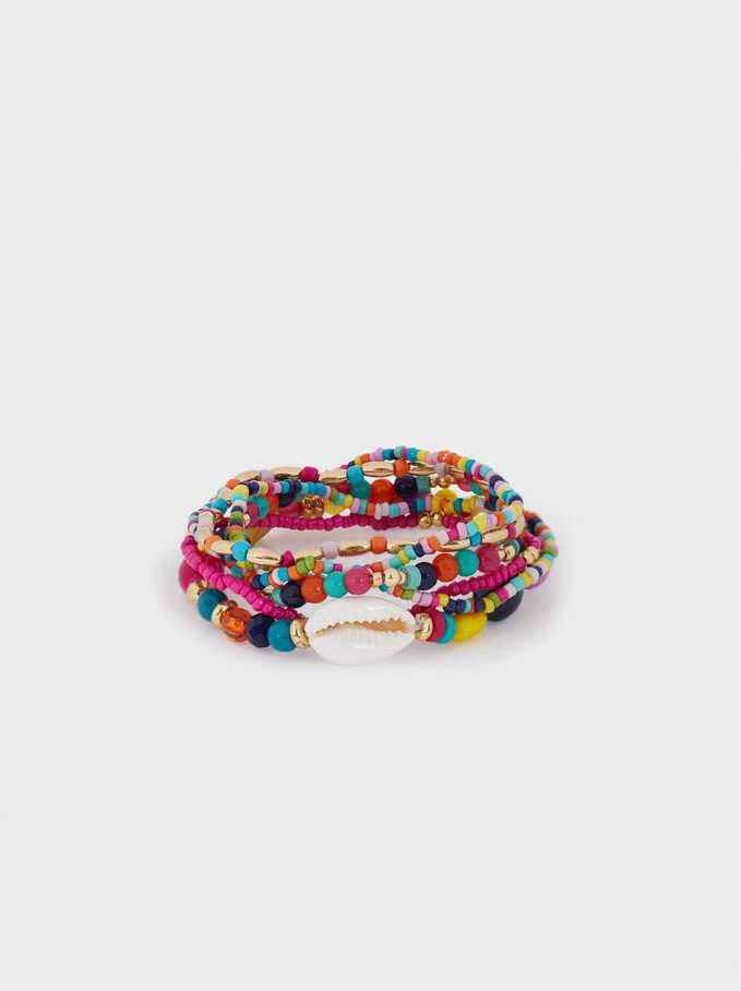 Set Of Elastic Bracelets With Shell, Multicolor, hi-res