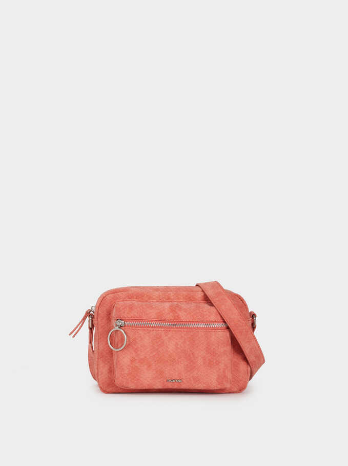 Embossed Faux Suede Crossbody Bag, Coral, hi-res