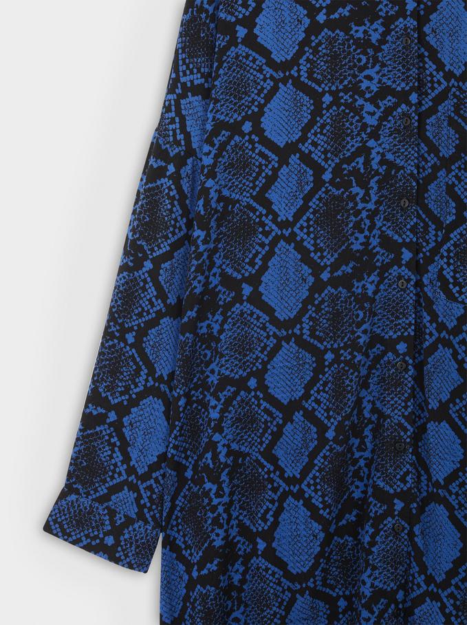 Vestido Camisero Estampado Serpiente, Azul, hi-res
