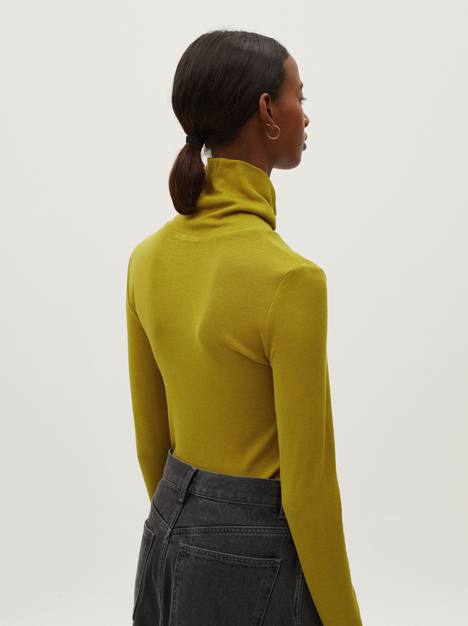 Knitted High Neck Sweater, Mustard, hi-res