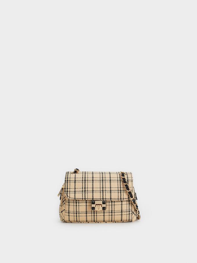 Raffia-Effect Mencia Crossbody Bag, Beige, hi-res