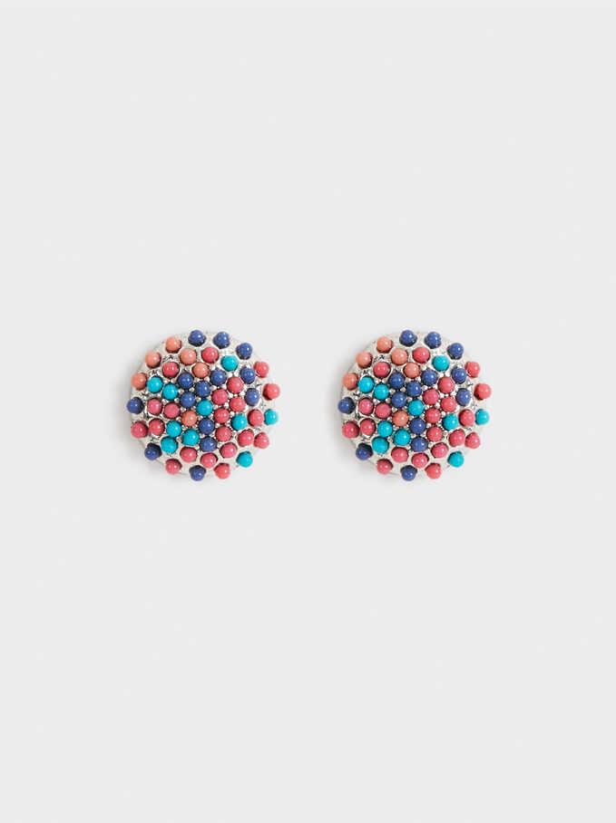 Aloha Seedbeads Short Earrings, Multicolor, hi-res