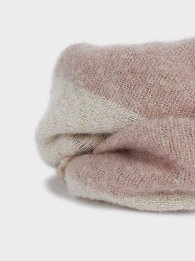 Snood With Fringe Detail, Pink, hi-res
