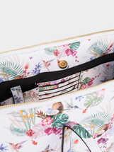 Floral Print Briefcase, Ecru, hi-res
