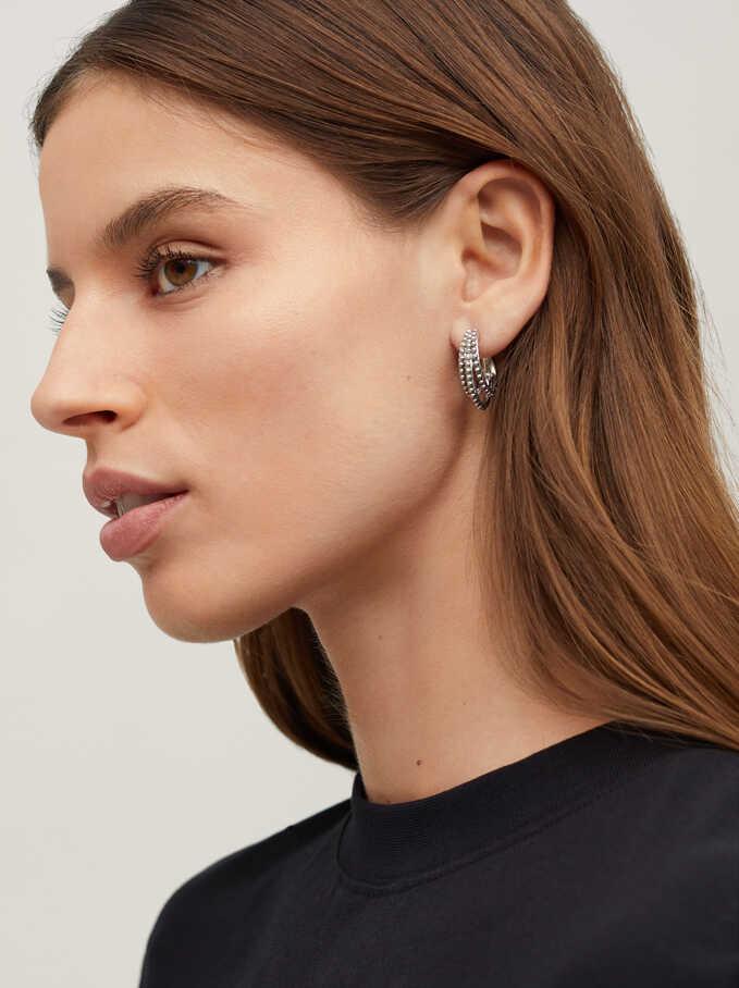 Hoop Earrings With Pearls, Silver, hi-res