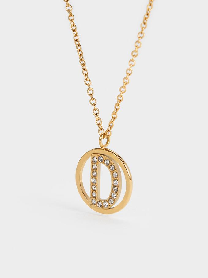 Short Steel Necklace With Letter D, Golden, hi-res