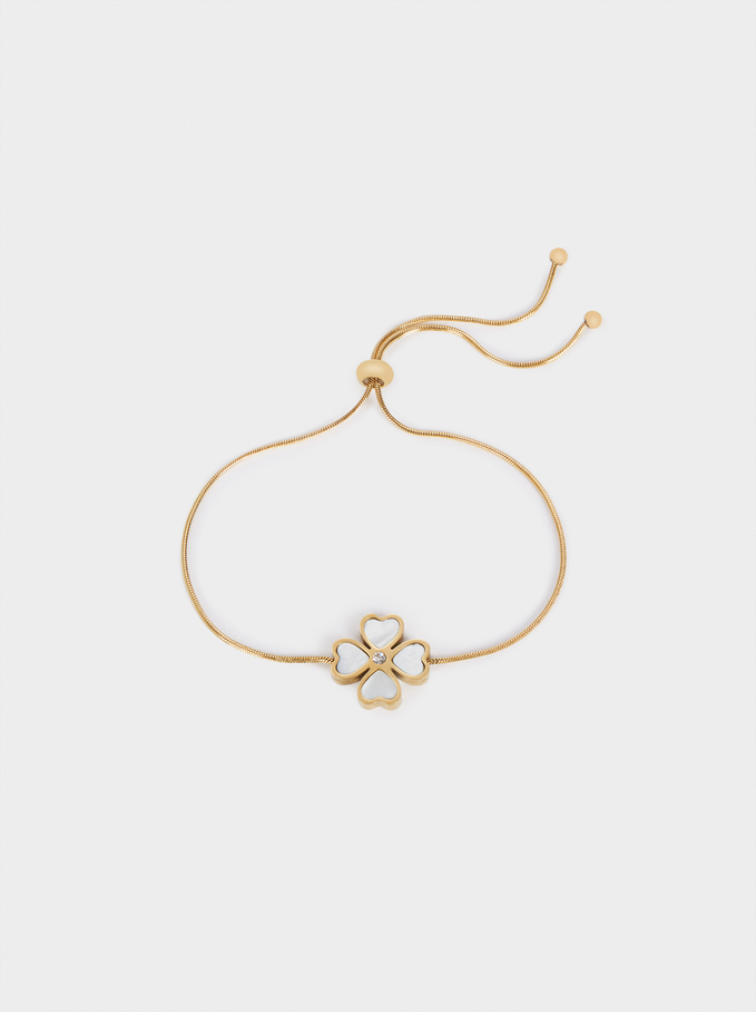 Adjustable Stainless Steel Bracelet With Cloverleaf, Golden, hi-res