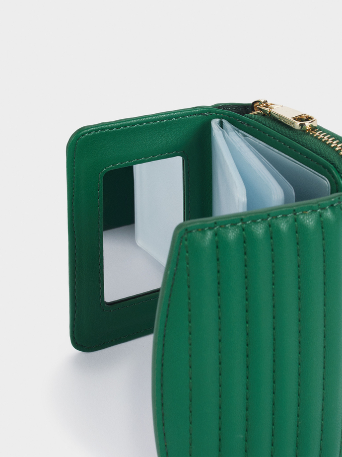 Quilted Card Holder And Coin Purse, Green, hi-res