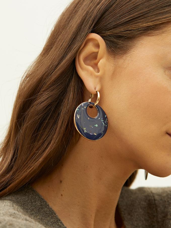 Long Enamel Hoop Earrings, Navy, hi-res