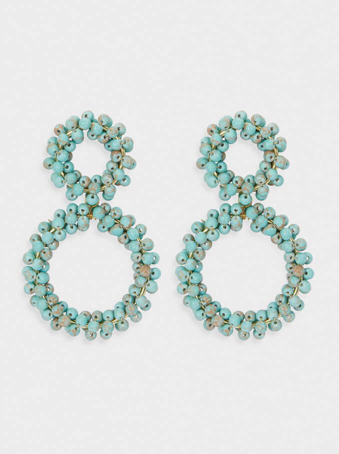 Boucles D'Oreilles Longues Perles Fantaisie, Bleu, hi-res
