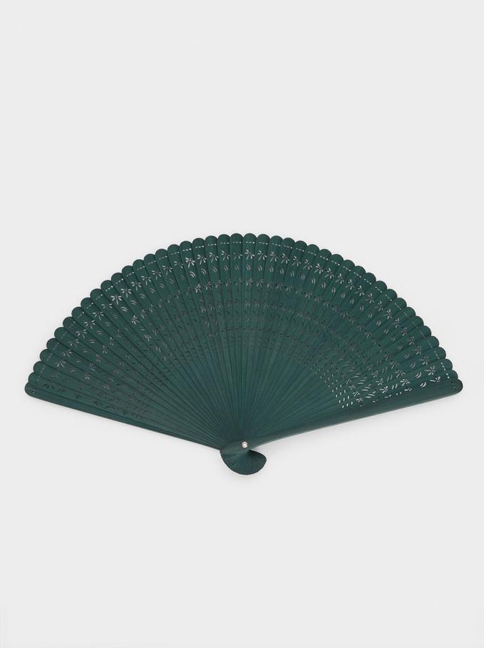 Faux Wood Fan, Green, hi-res