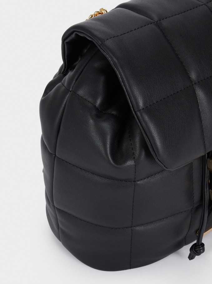 Backpack With Quilted Design, Black, hi-res