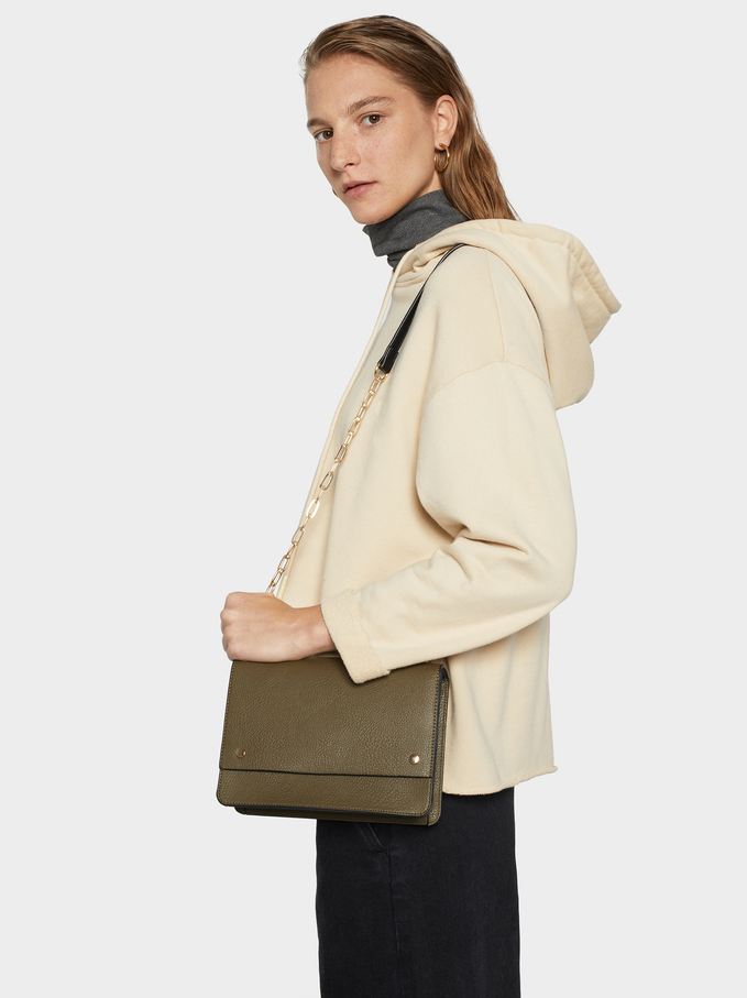 Faux Leather Crossbody Bag, Khaki, hi-res