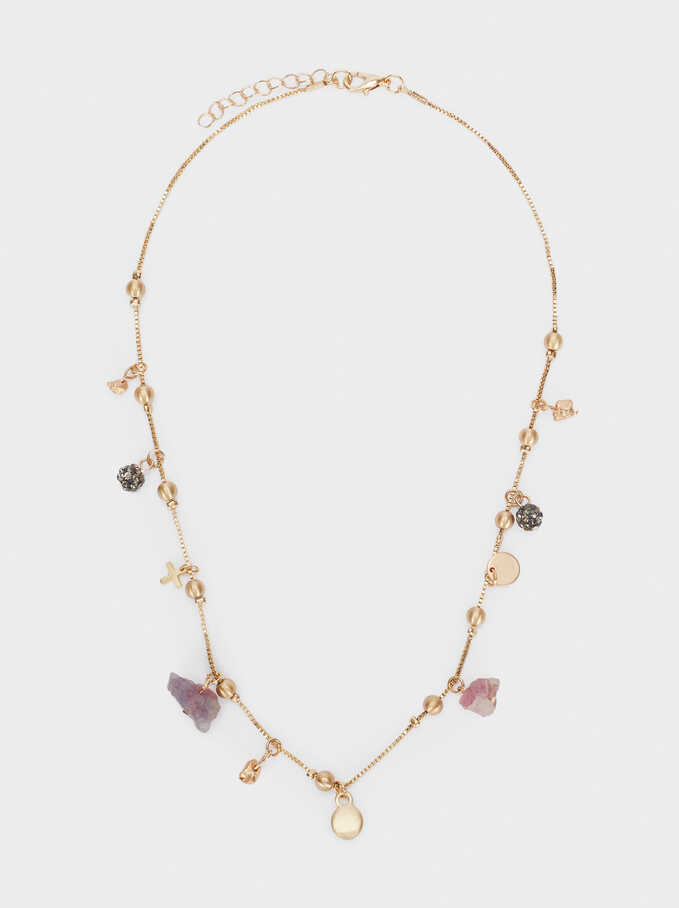 Short Necklace With Stones And Charms, Multicolor, hi-res