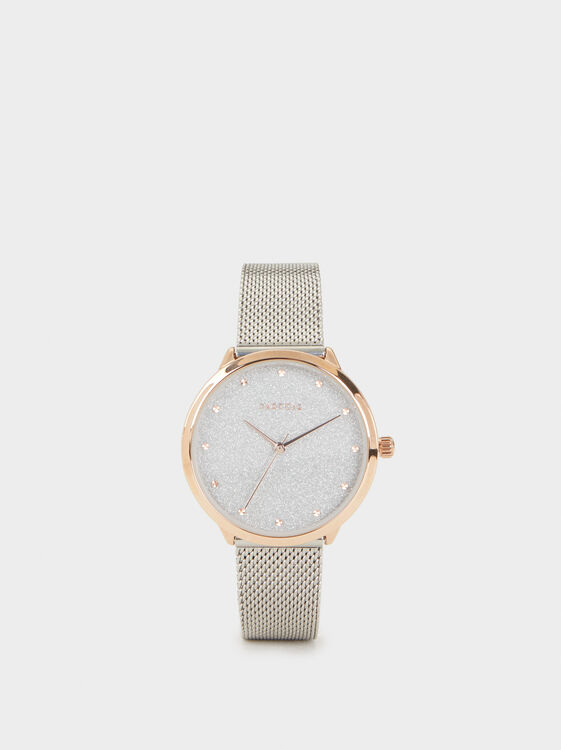 Watch With Glitter Dial, Silver, hi-res