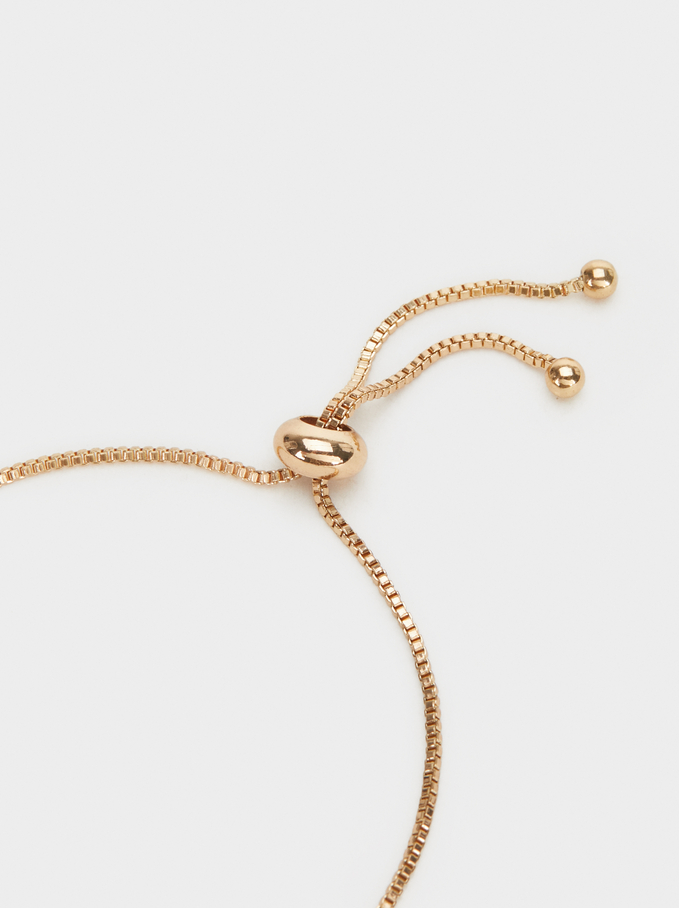 Adjustable Gold Bracelet With Hand Charm, Golden, hi-res