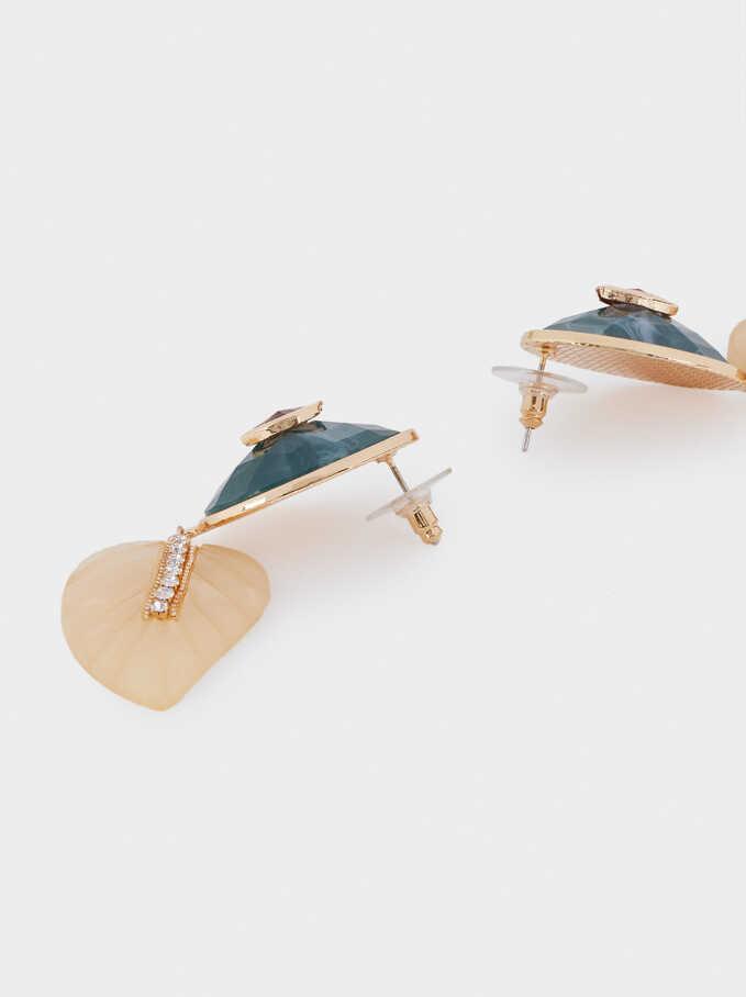 Long Leaf Earrings, Golden, hi-res
