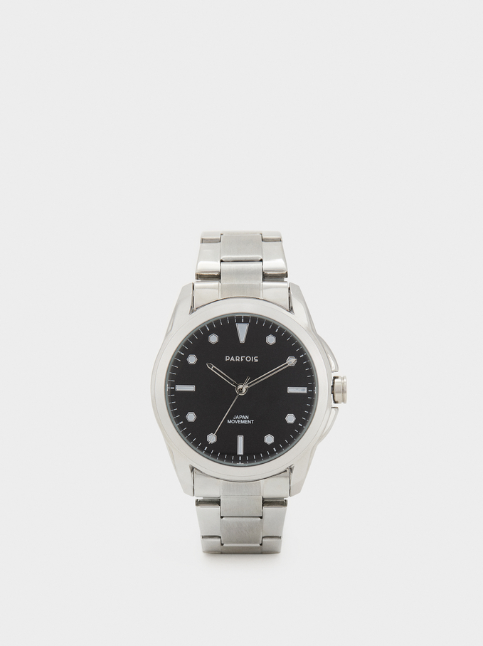 Watch With Steel Strap, Silver, hi-res
