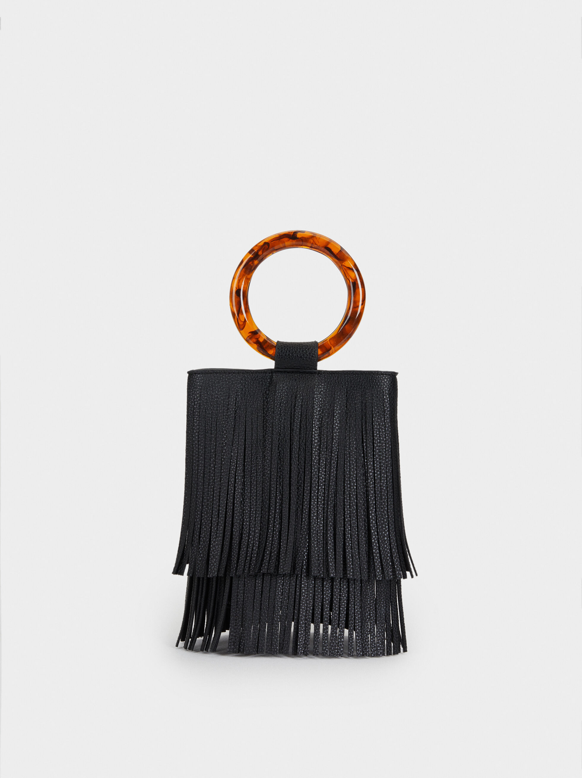 Handbag With Fringes, Black, hi-res