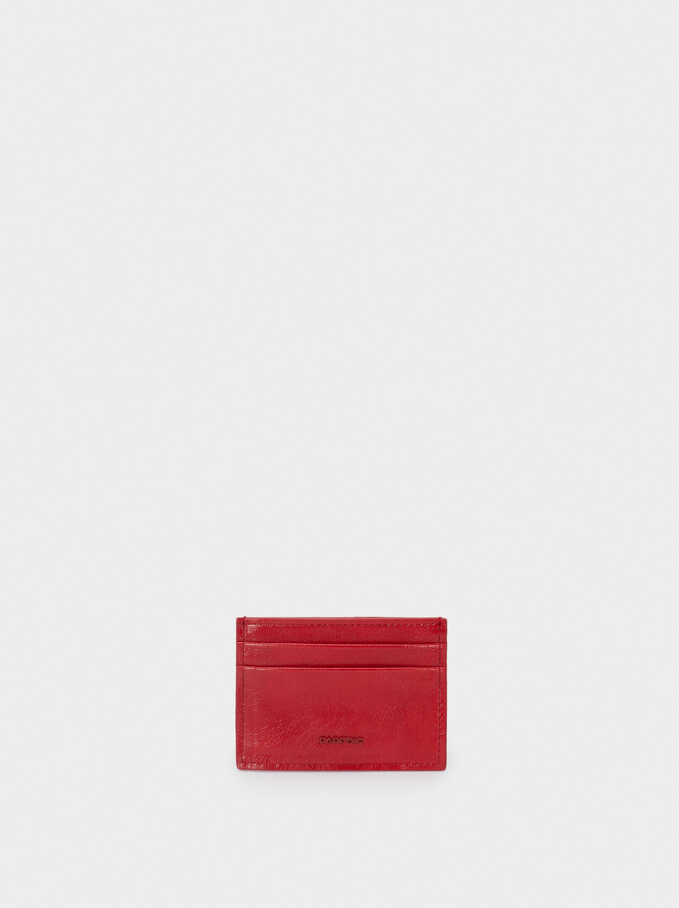 Plain Card Holder, Red, hi-res