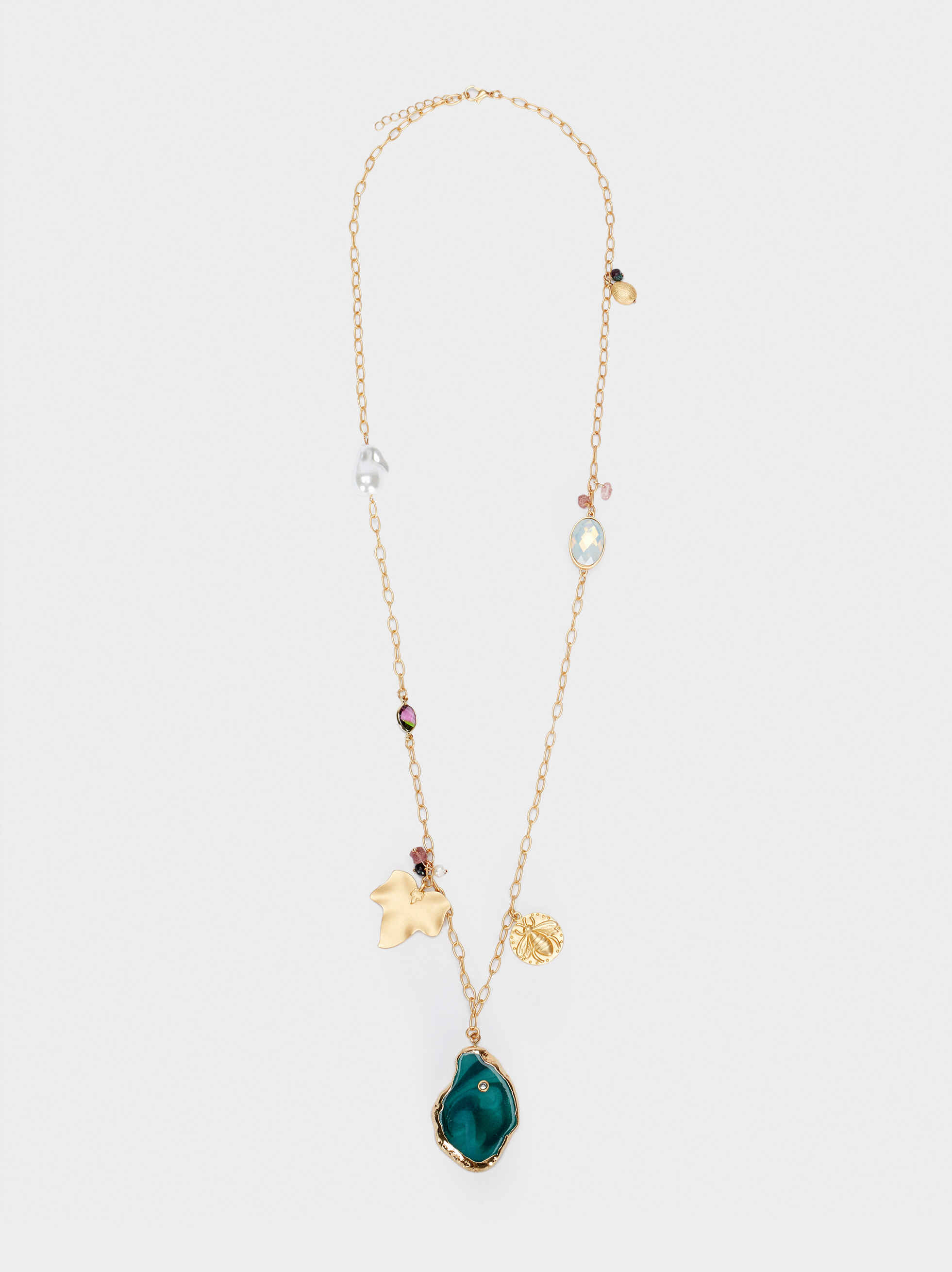 Long Gold Necklace With Stone, Multicolor, hi-res