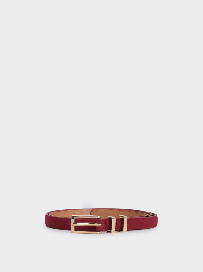 Belt With Metal Detail, Red, hi-res