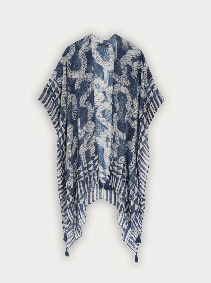 Kimono Estampado Con Pompones, Azul, hi-res