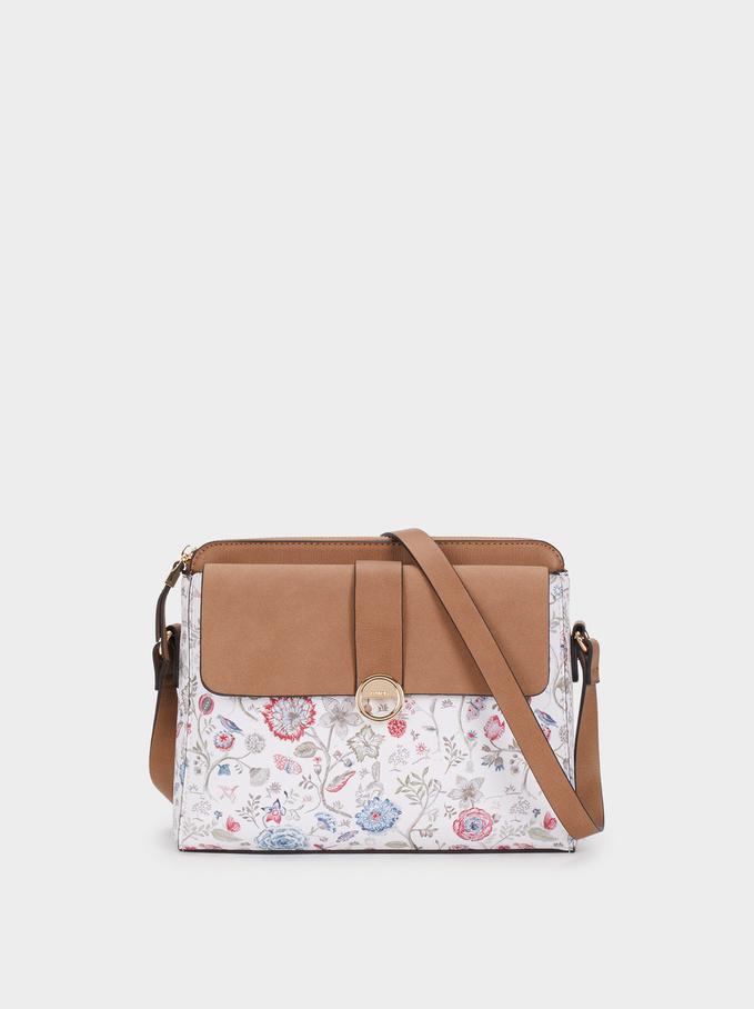 Floral Print Shoulder Bag, Pink, hi-res