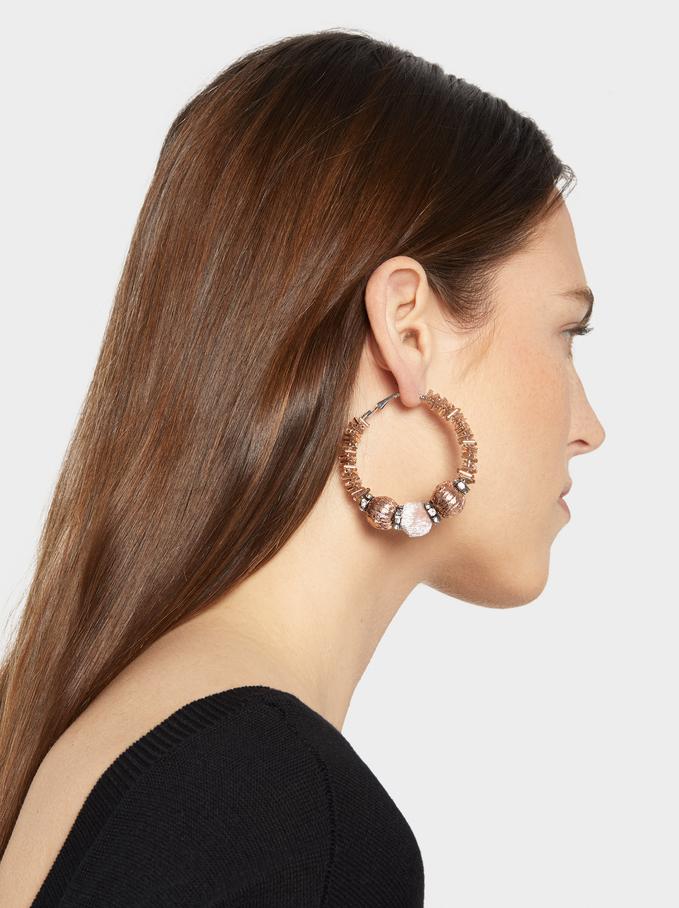 Party Large Hoop Earrings, Blue, hi-res