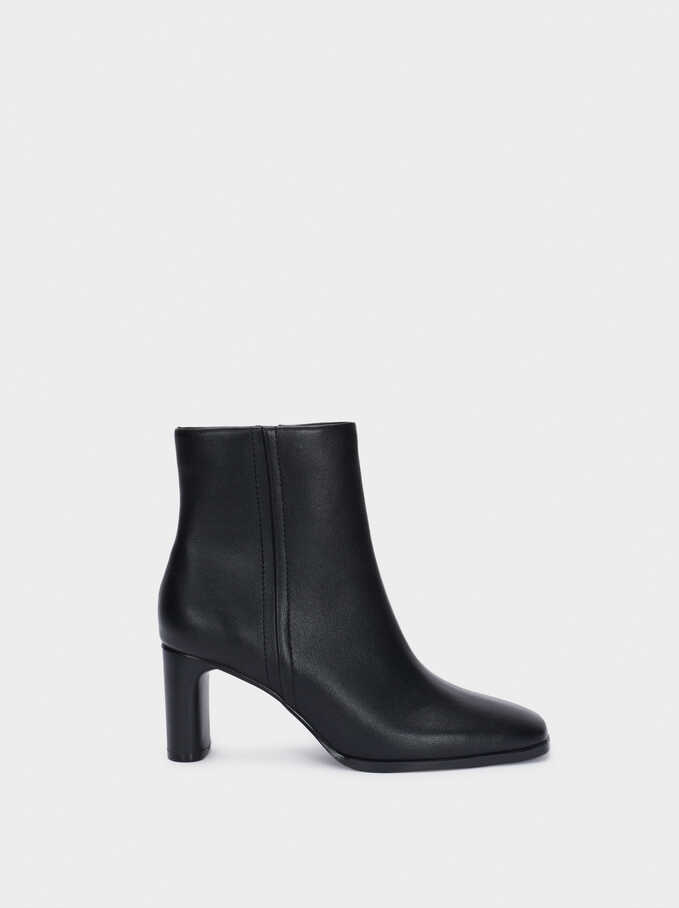 Faux Leather Heeled Ankle Boots, Black, hi-res