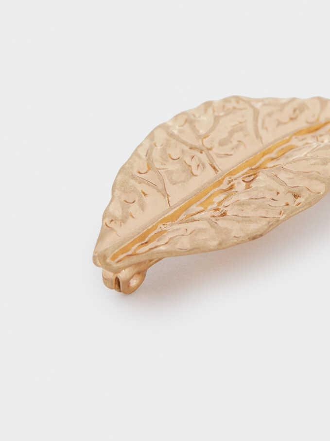 Gold Leaf Brooch, Golden, hi-res
