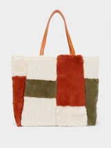 Reversible Fur Tote Bag, Ecru, hi-res