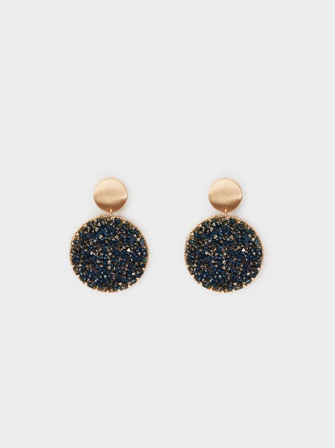 Crystals Earrings, Blue, hi-res